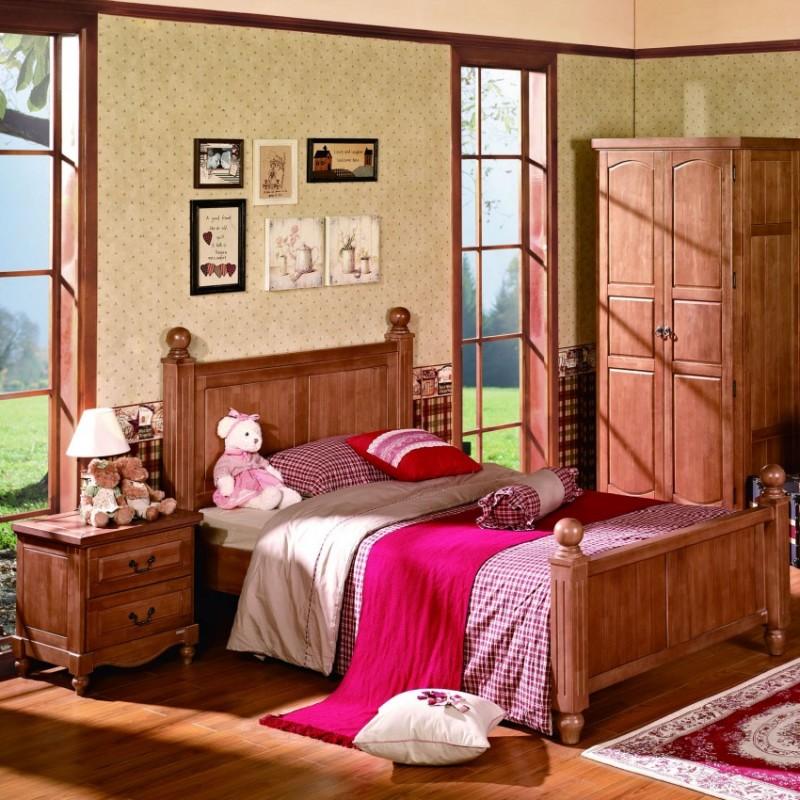 七彩人生实木儿童套房实木单人床床头柜衣柜学习桌-亚瑟