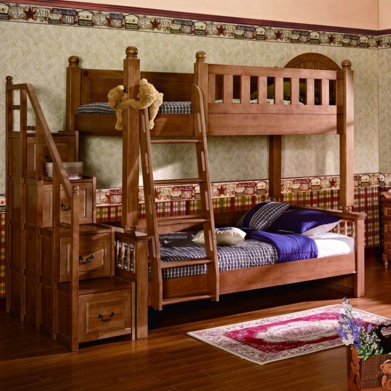 七彩人生实木儿童套房实木上下床梯柜款床头柜衣柜学习桌-约克城墙