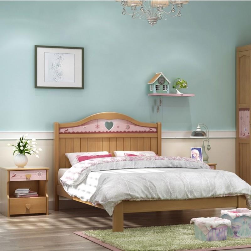 七彩人生实木儿童套房实木上下床梯柜款床头柜衣柜学习桌-ME-1702(清粉玛卡龙)