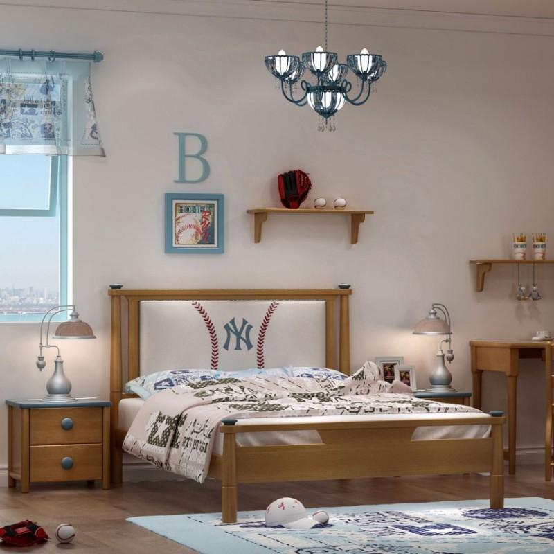 七彩人生实木儿童套房实木上下床梯柜款床头柜衣柜学习桌-ME-1704(棒球小子)