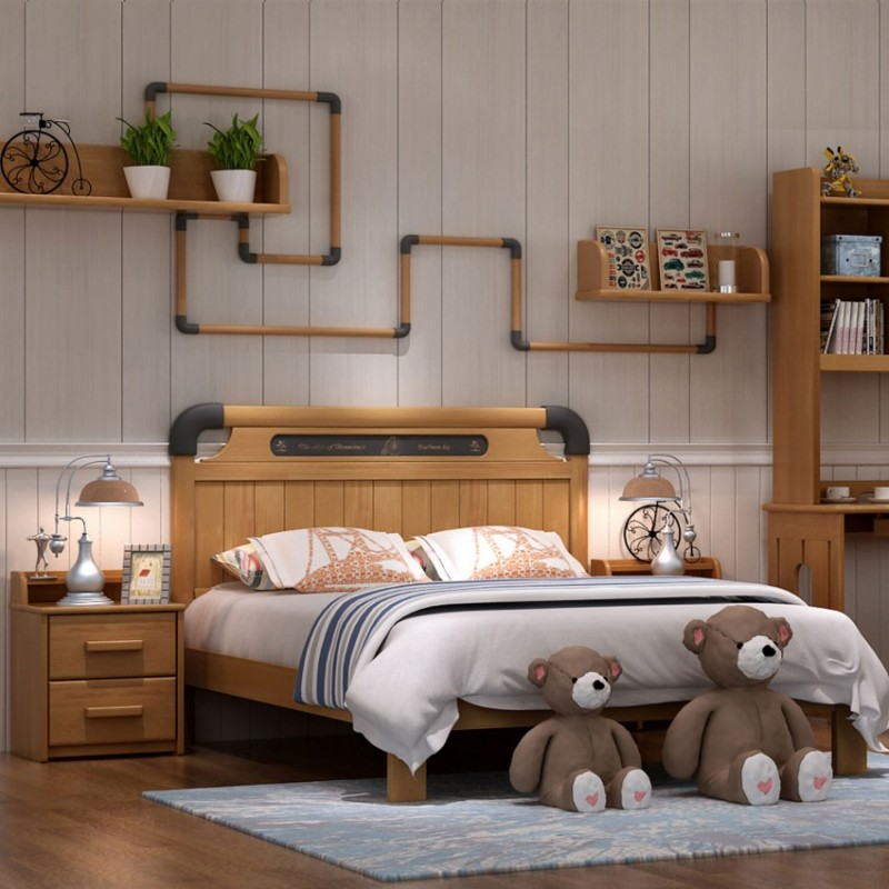 七彩人生实木儿童套房实木上下床梯柜款床头柜衣柜学习桌-ME-1705(技嘉战士)