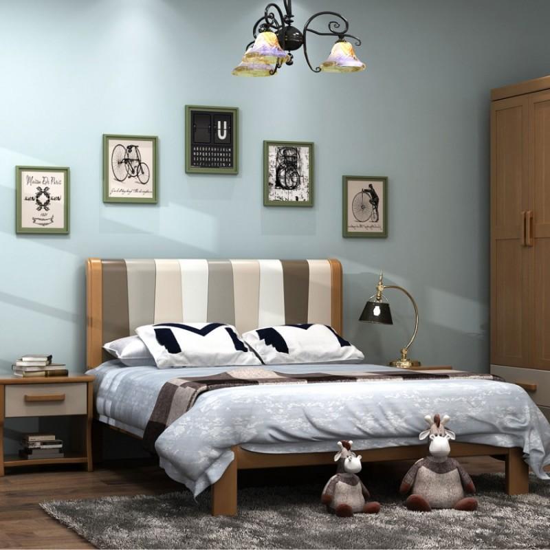 七彩人生实木儿童套房实木上下床梯柜款床头柜衣柜学习桌-ME-1706(英伦绅士)