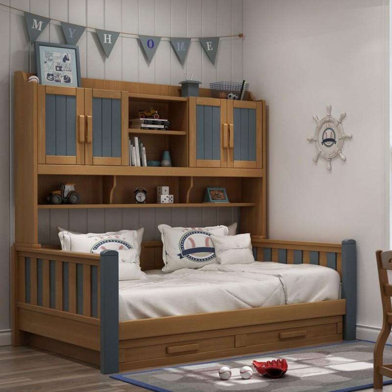 七彩人生实木儿童套房实木上下床梯柜款床头柜衣柜学习桌-ME-1709(魔法城堡)