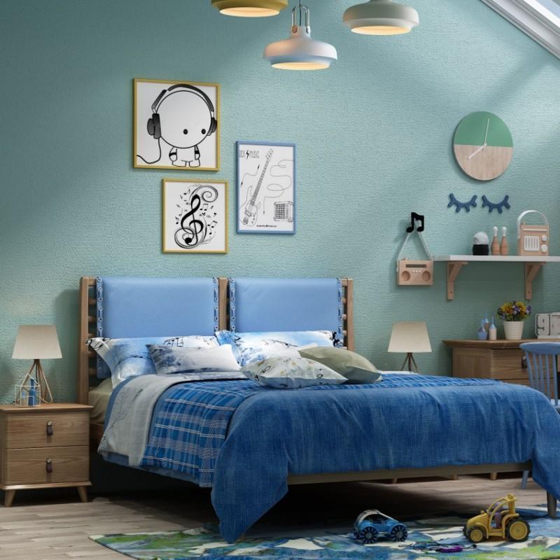 七彩人生儿童套房实木家具单人床衣柜床头柜学习桌书桌-北欧时光