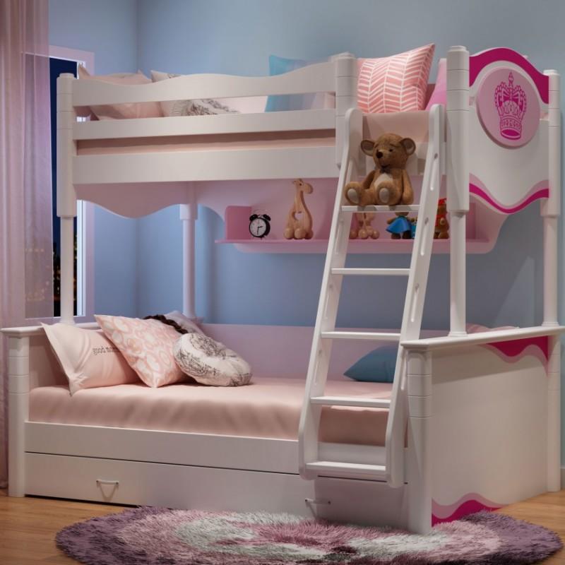 七彩人生儿童套房实木家具单人床衣柜床头柜学习桌书桌-花暖心房配扶梯