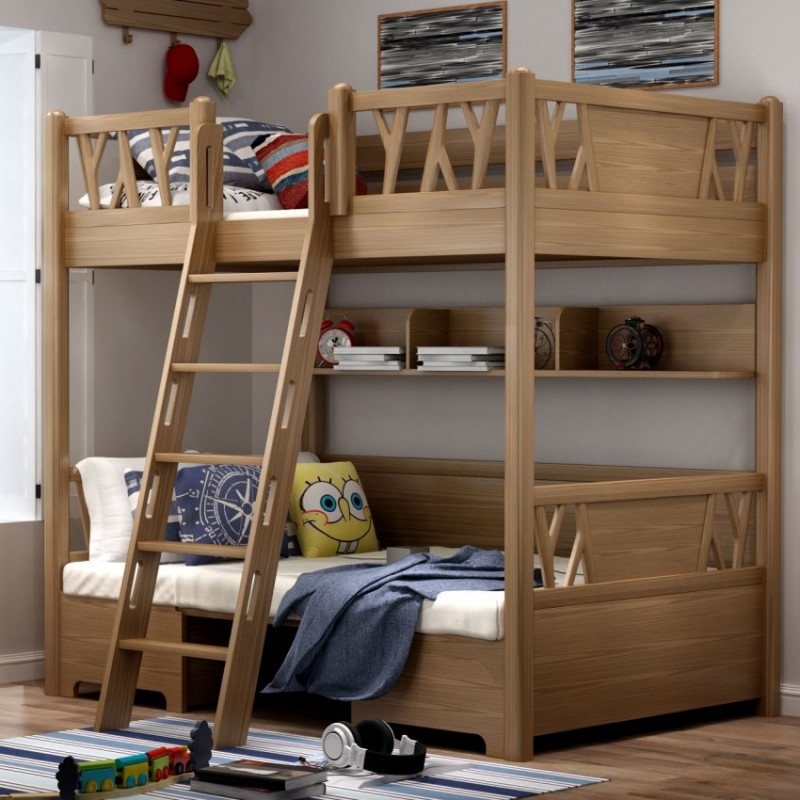 七彩人生儿童套房实木家具单人床衣柜床头柜学习桌书桌-空间魔法师
