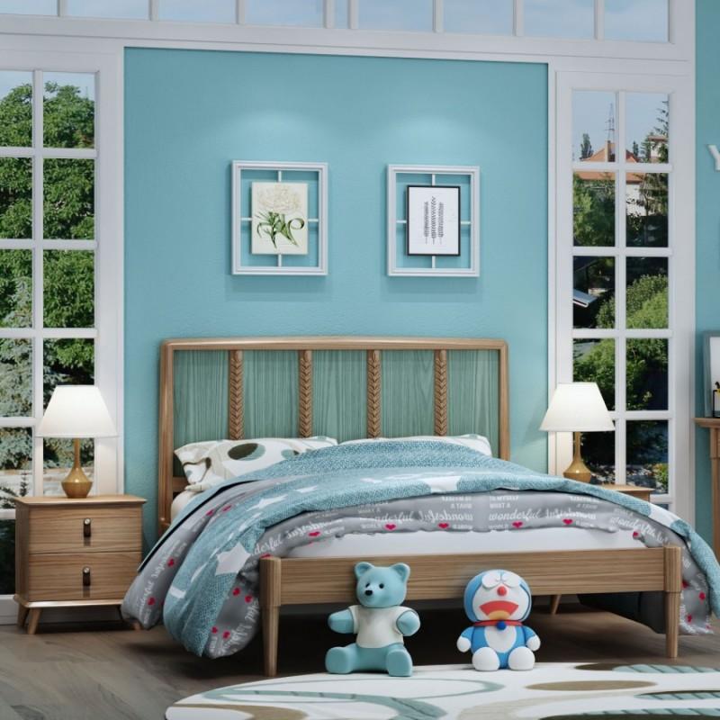 七彩人生儿童套房实木家具单人床衣柜床头柜学习桌书桌-暮风麦田