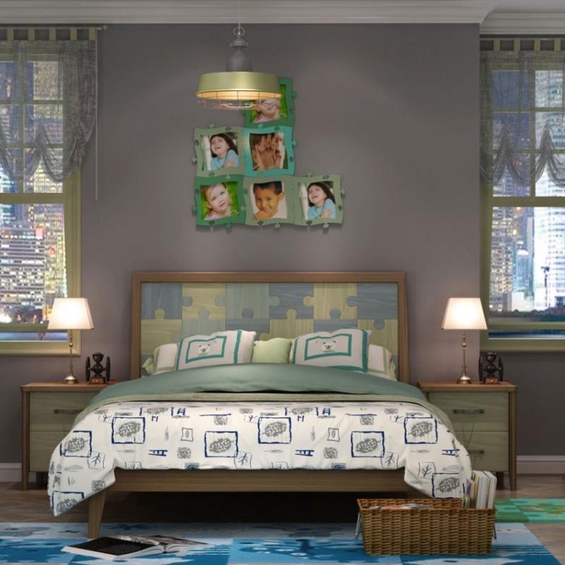 七彩人生儿童套房实木家具单人床衣柜床头柜学习桌书桌-拼图人生
