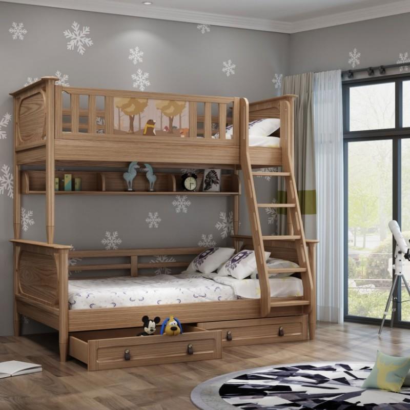 七彩人生儿童套房实木家具单人床衣柜床头柜学习桌书桌-七彩之梦扶梯高低床