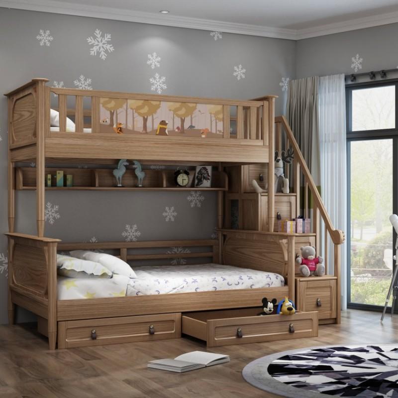 七彩人生儿童套房实木家具单人床衣柜床头柜学习桌书桌-七彩之梦楼梯柜高低床