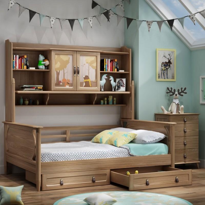 七彩人生儿童套房实木家具单人床衣柜床头柜学习桌书桌-七彩之梦书架床