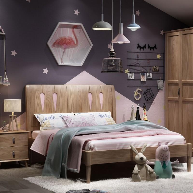 七彩人生儿童套房实木家具单人床衣柜床头柜学习桌书桌-水滴世界