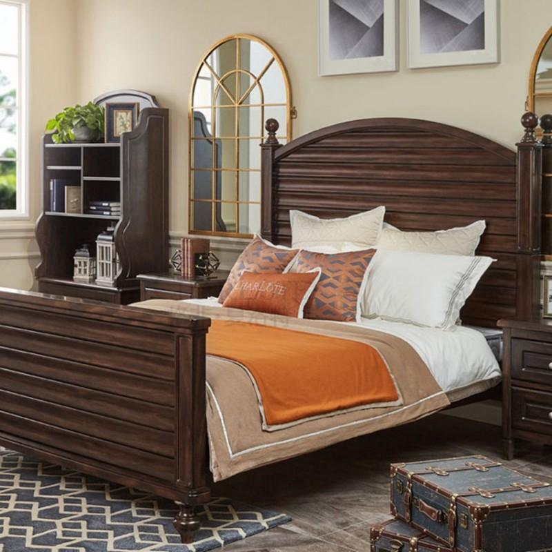 格非·夏洛特儿童实木家具卧室单人床03-XA-05床+18-XBC-03床头柜-咖 +80-XE-01收纳柜