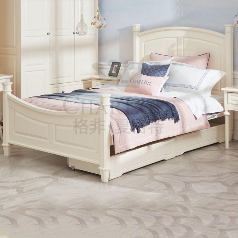 格非·夏洛特儿童实木家具卧室单人床04-XA-08床+21-XBY-01三门两抽-平门