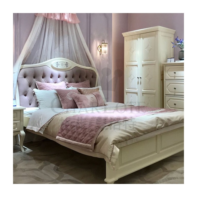 格非·夏洛特儿童实木家具卧室单人床06-XA-12床+29-XBY-02二门衣柜-菱形门