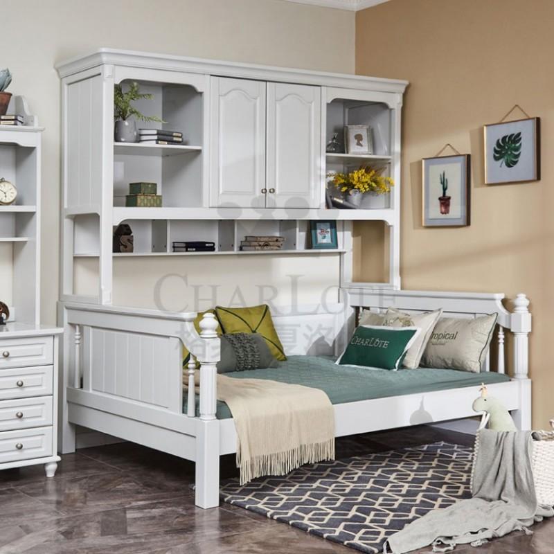 格非·夏洛特儿童实木家具卧室单人床15-XA-005书架床-A
