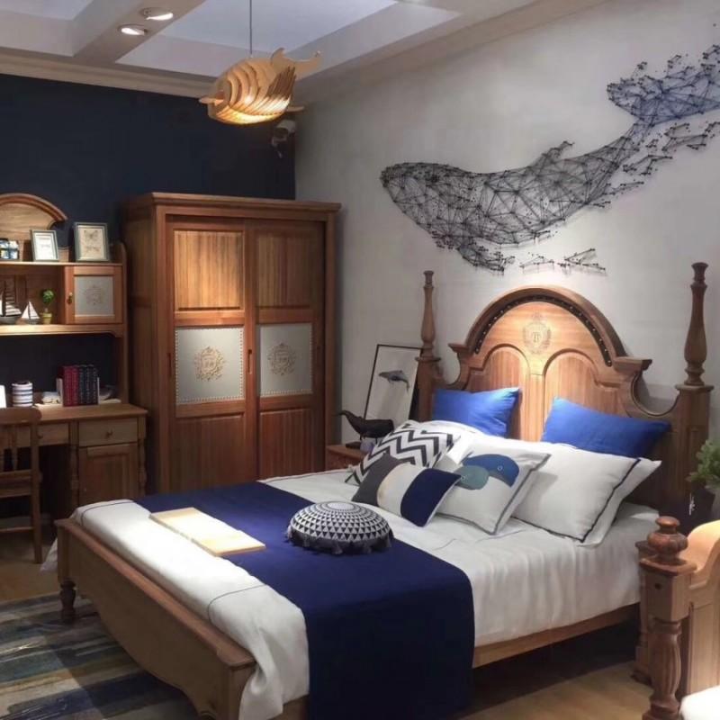 洛可小城儿童实木家具檀丝木儿童套房单人床衣柜床头柜小书桌310