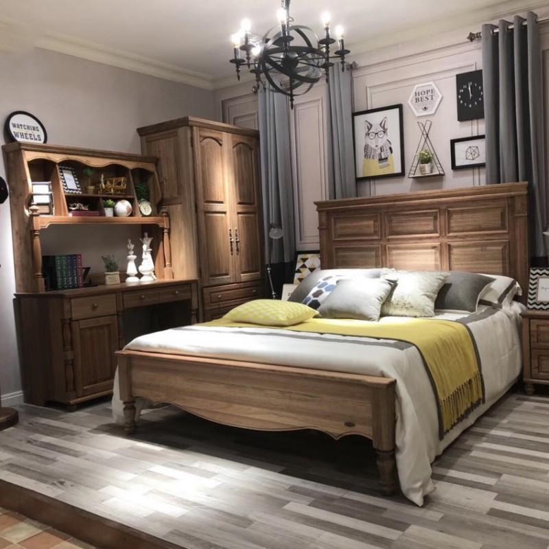 洛可小城儿童实木家具檀丝木儿童套房单人床衣柜床头柜小书桌311
