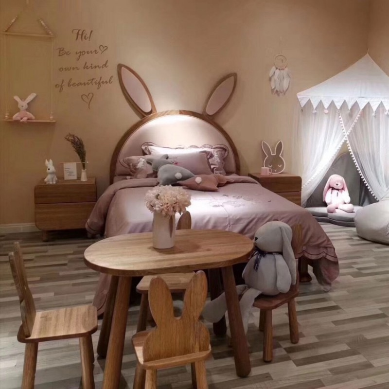 洛可小城儿童实木家具檀丝木儿童套房单人床衣柜床头柜小书架游戏桌313