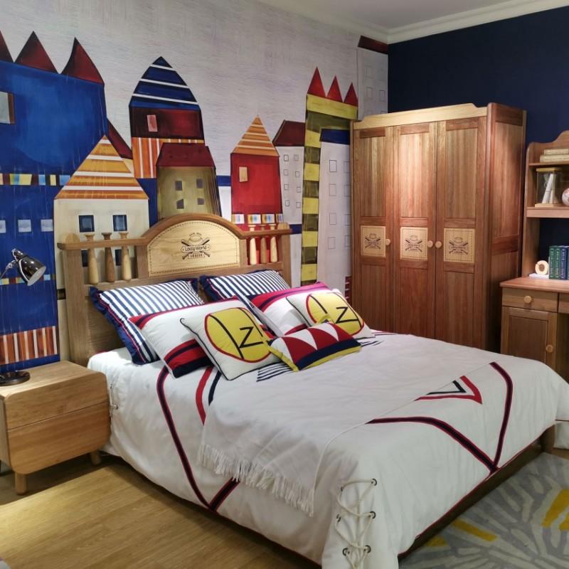 洛可小城儿童实木家具檀丝木儿童套房单人床衣柜床头柜小书桌15
