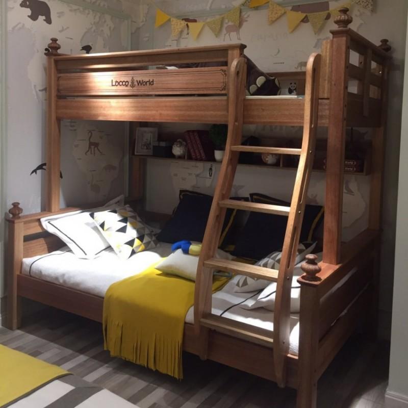 洛可小城儿童实木家具檀丝木儿童套房单人床上下床扶梯款518
