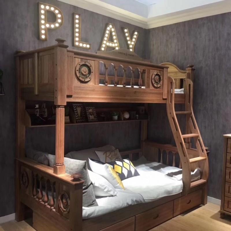 洛可小城儿童实木家具檀丝木儿童套房单人床上下床扶梯款519