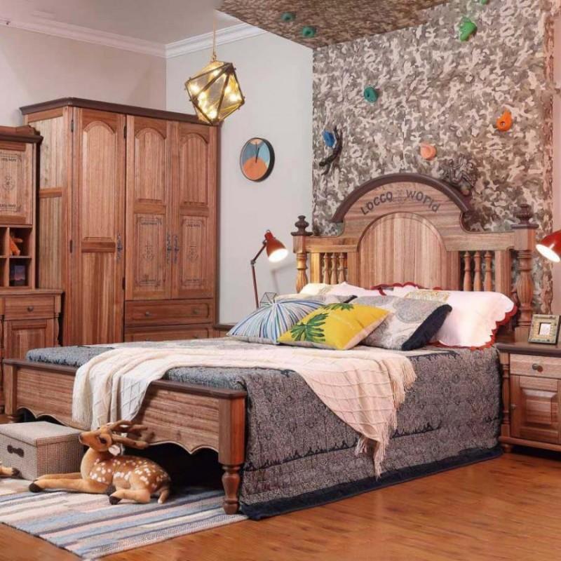 洛可小城儿童实木家具套房檀丝木系列单人床衣柜床头柜学习桌书桌303