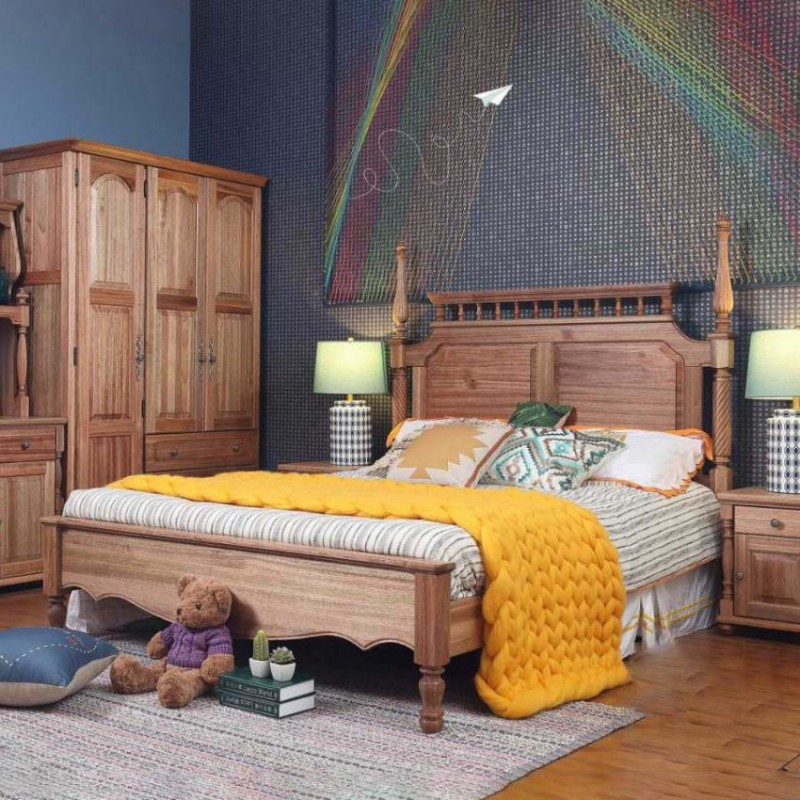 洛可小城儿童实木家具套房檀丝木系列单人床衣柜床头柜学习桌书桌305