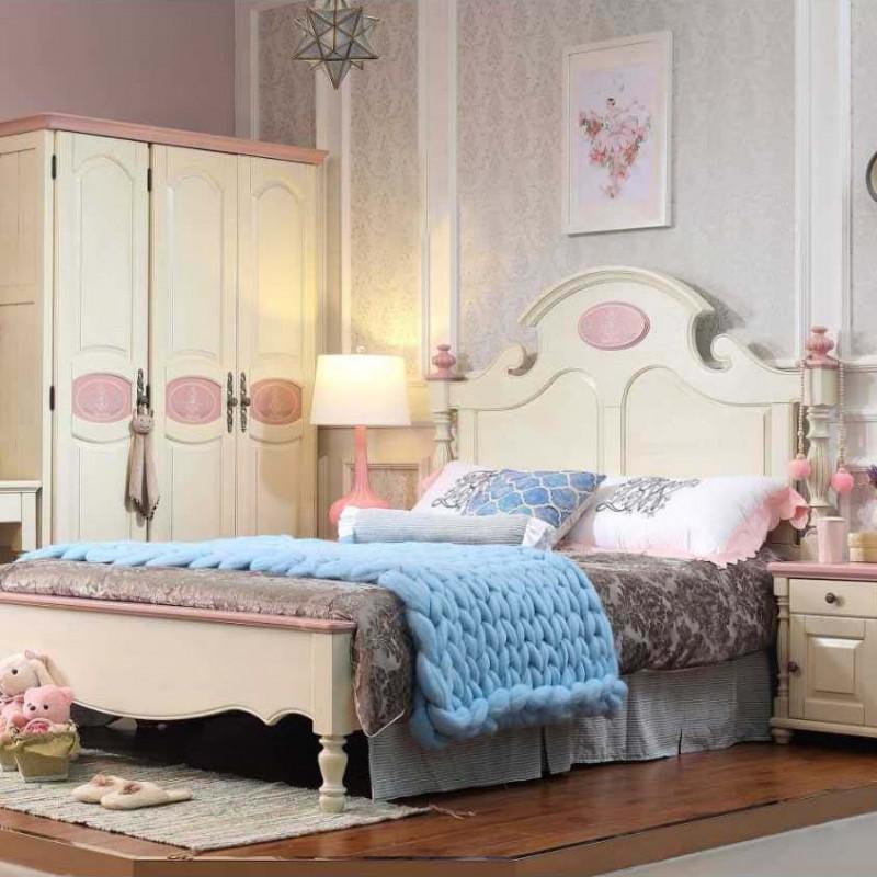 洛可小城儿童实木家具套房檀丝木系列单人床衣柜床头柜学习桌书桌306