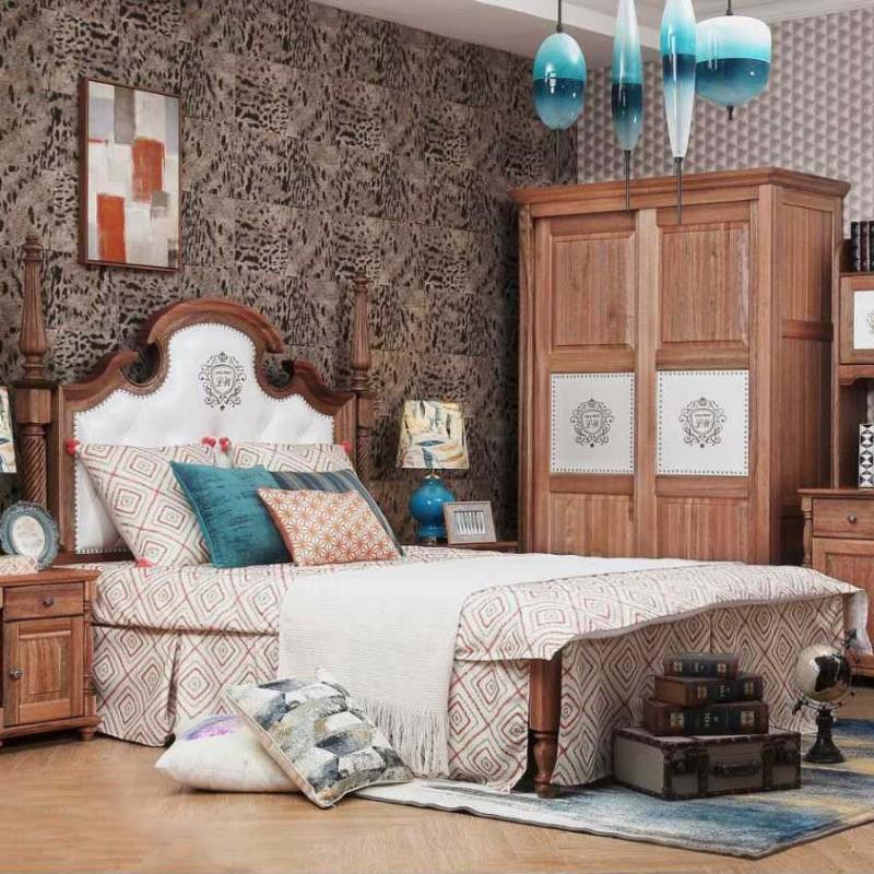洛可小城儿童实木家具套房檀丝木系列单人床衣柜床头柜学习桌书桌307