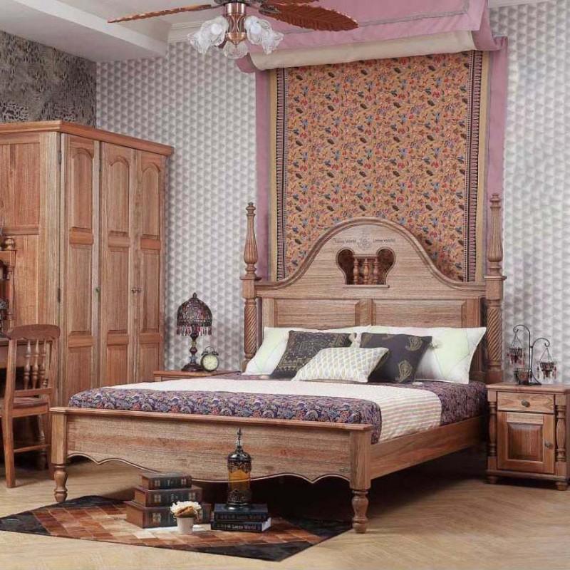 洛可小城儿童实木家具套房檀丝木系列单人床衣柜床头柜学习桌书桌308
