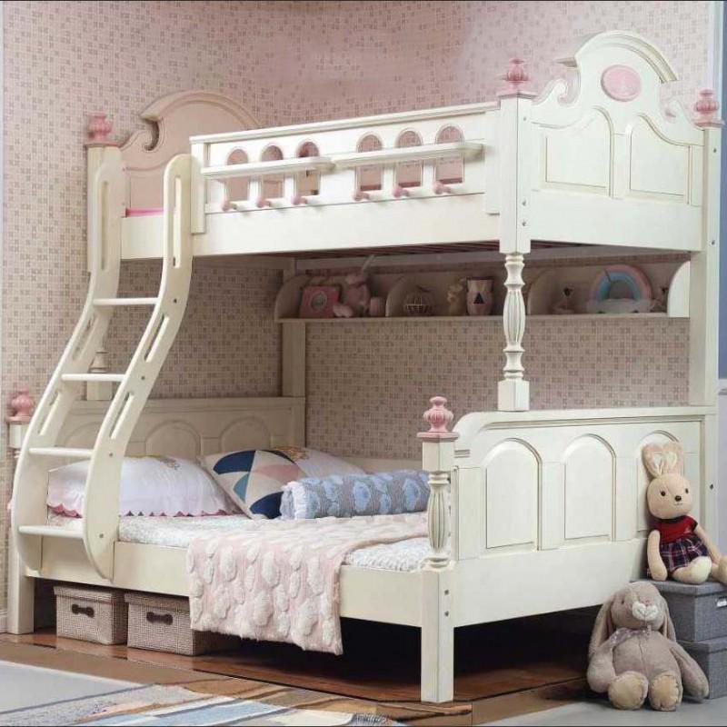 洛可小城儿童实木家具套房檀丝木系列单人床上下床带扶梯505