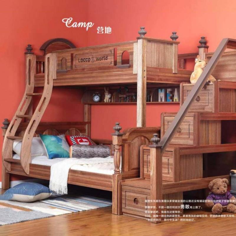 洛可小城儿童实木家具套房檀丝木系列单人床上下床梯柜款506