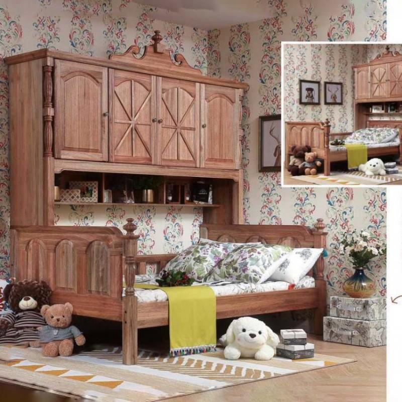 洛可小城儿童实木家具套房檀丝木系列单人床组合床带书架507