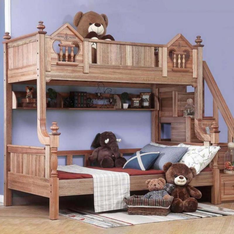 洛可小城儿童实木家具套房檀丝木系列单人床上下床带梯柜508