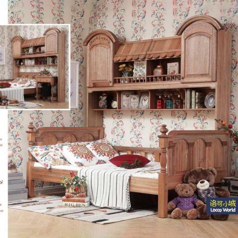 洛可小城儿童实木家具套房檀丝木系列单人床组合床带书架510