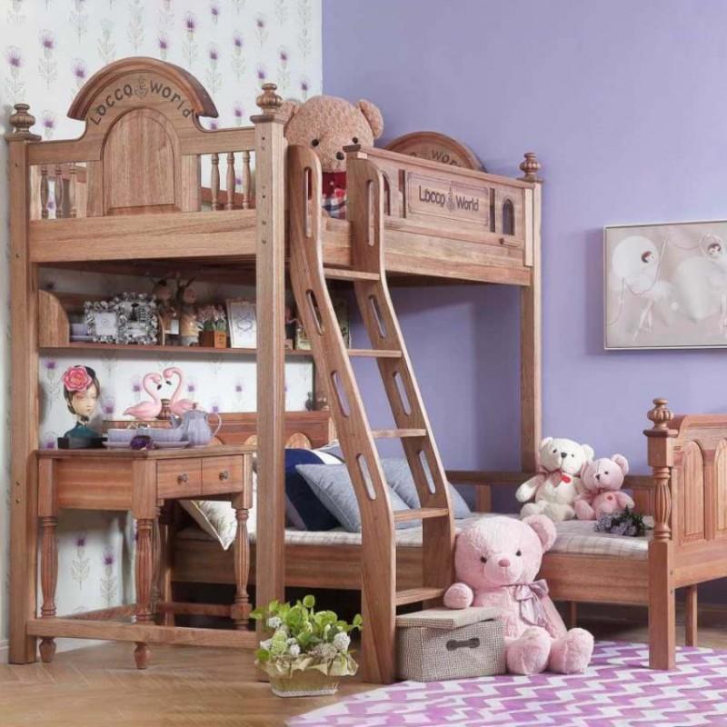 洛可小城儿童实木家具套房檀丝木系列单人床上下床组合床带扶梯511