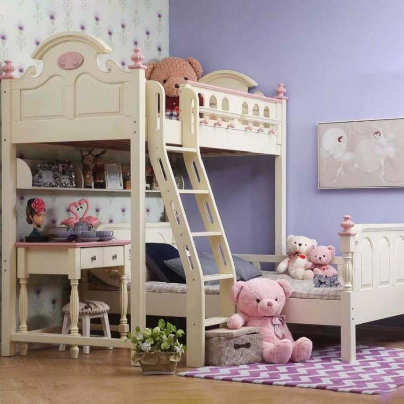 洛可小城儿童实木家具套房檀丝木系列单人床上下床组合床小书桌512