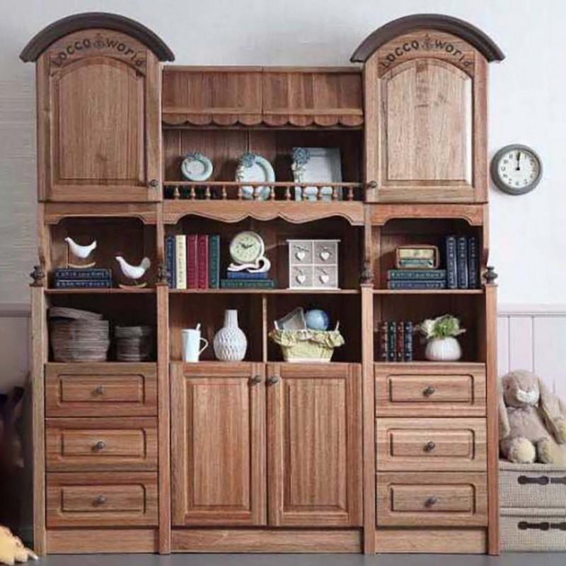 洛可小城儿童实木家具套房檀丝木系列组合书柜3K03+3K05