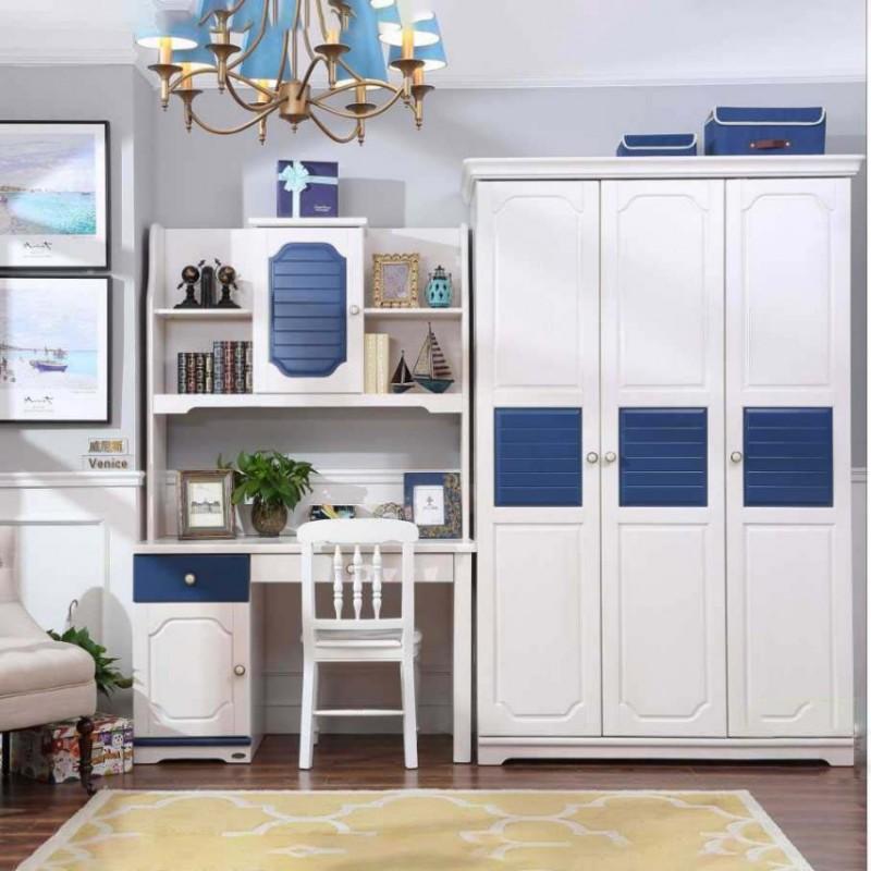 洛可小城儿童实木家具套房桃花芯木系列单人床衣柜床头柜学习桌F02