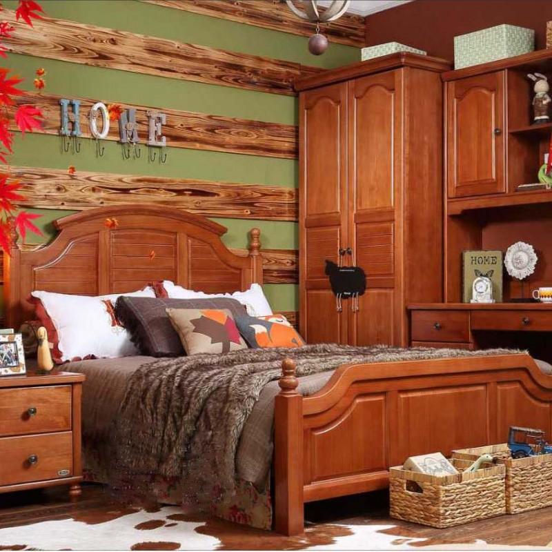 洛可小城儿童实木家具套房桃花芯木系列单人床衣柜床头柜学习桌F08