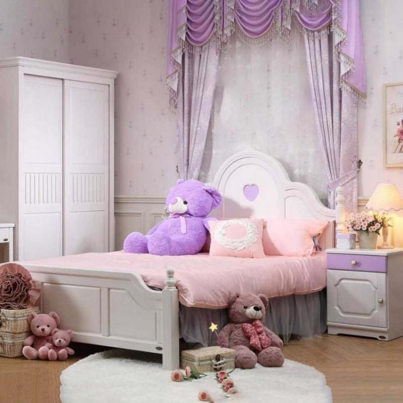 洛可小城儿童实木家具套房桃花芯木系列单人床衣柜床头柜学习桌F09