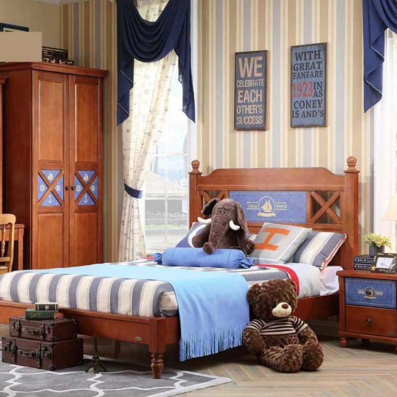 洛可小城儿童实木家具套房桃花芯木系列单人床衣柜床头柜学习桌F16