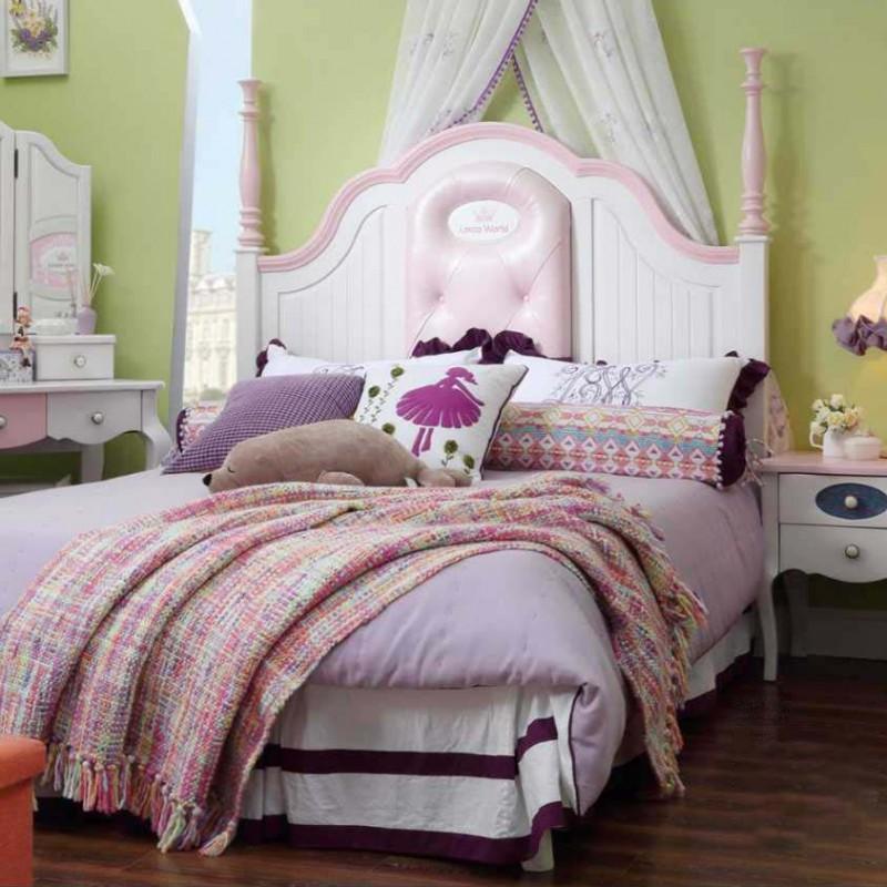 洛可小城儿童实木家具套房桃花芯木系列单人床衣柜床头柜学习桌F17