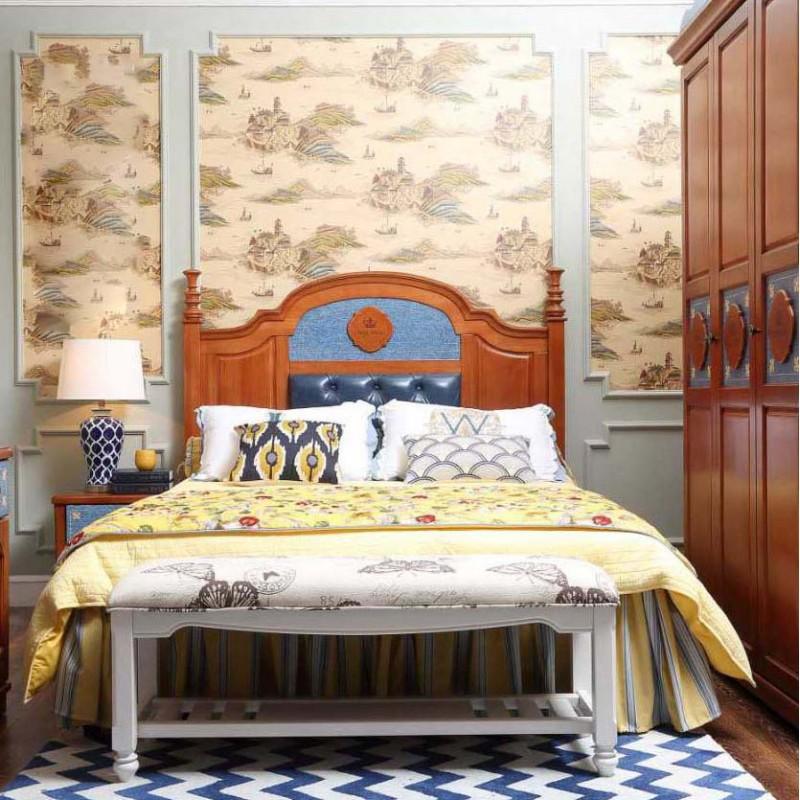 洛可小城儿童实木家具套房桃花芯木系列单人床衣柜床头柜学习桌F19