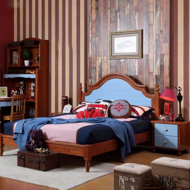 洛可小城儿童实木家具套房桃花芯木系列单人床衣柜床头柜学习桌F23