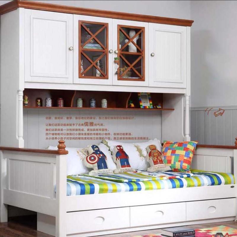 洛可小城儿童实木家具套房桃花芯木系列单人床组合床带书架FS65