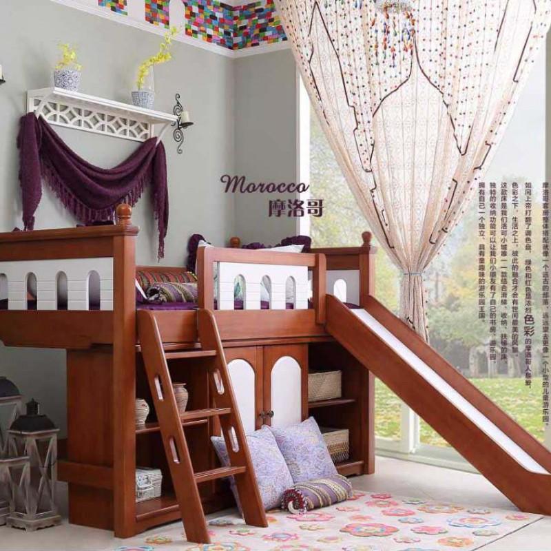 洛可小城儿童实木家具套房桃花芯木系列单人床高架床带扶梯滑梯FS68