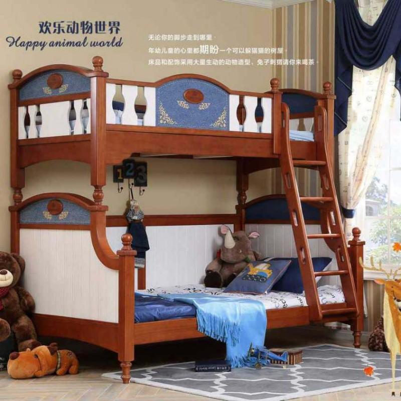 洛可小城儿童实木家具套房桃花芯木系列上下床双层床带扶梯FS69