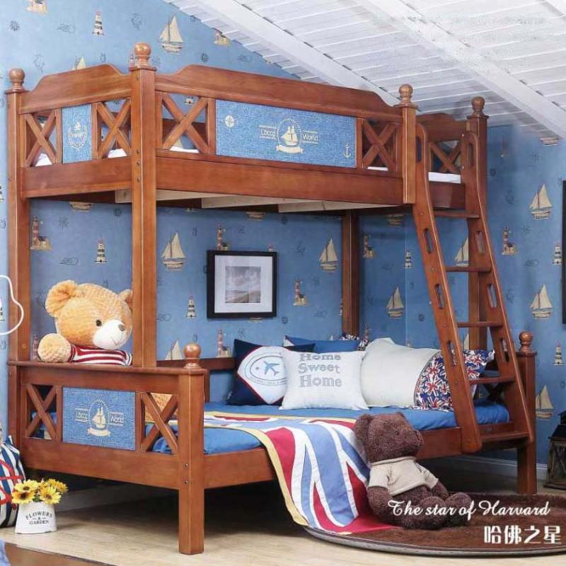 洛可小城儿童实木家具套房桃花芯木系列上下床双层床带扶梯FS70